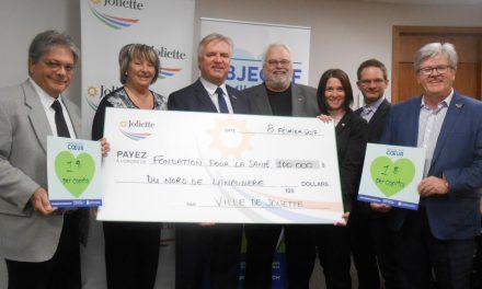 Joliette remet 100 000$ à la Fondation pour la Santé du Nord de Lanaudière