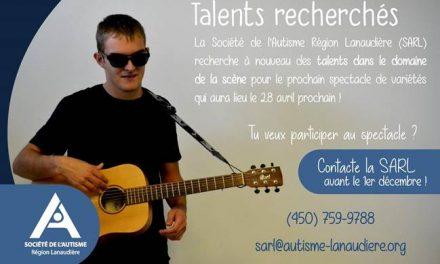Talents recherchés pour le spectacle annuel de la Société de l'Autisme Région Lanaudière