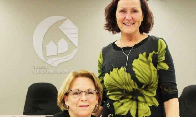Assermentation de Suzanne Dauphin comme premiere mairesse de Notre-Dame-des-Prairies