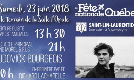 Fête nationale à Saint-Lin-Laurentides : Ludovick Bourgeois en vedette lors du spectacle du 23 juin