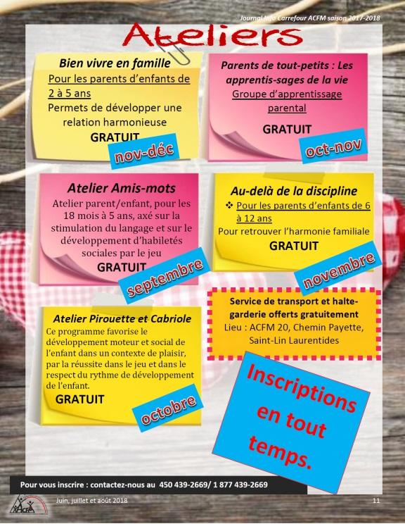 vacances, ACFM, Association Carrefour Famille Montcalm