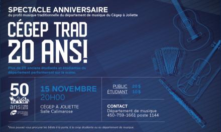 Le Cégep à Joliette vous invite à célébrer 20 ans de musique traditionnelle!