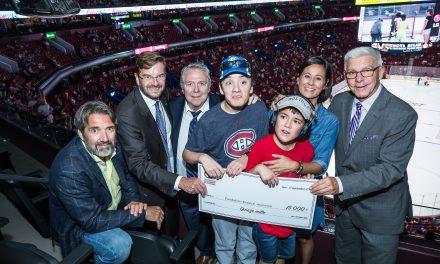 La Fondation des Canadiens pour l'enfance remet un chèque à la Fondation Espace-Jeunesse Lanaudière