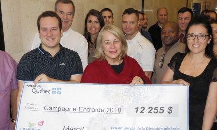 CAMPAGNE ENTRAIDE 2018 Le personnel de la Direction générale des Laurentides-Lanaudière du MTQ remet un montant de 12 255 $