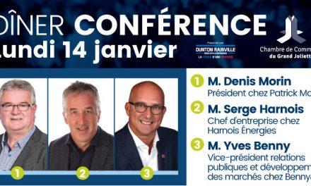 À son dîner du mois de janvier, la CCGJ accueille un panel d'hommes d'affaires, animé par M. Jean Denommée
