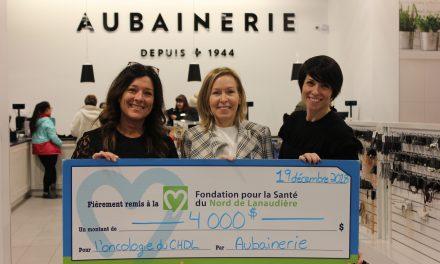 L'Aubainerie de Joliette remet 4 000 $ à la fondation!
