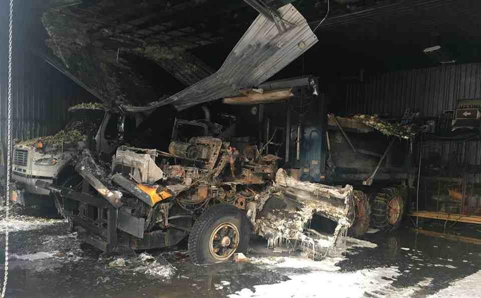 Incendie au garage municipal de Saint-Calixte