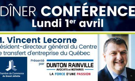 La CCGJ accueille en avril Vincent Lecorne, président-directeur général du Centre de transfert d'entreprise du Québec