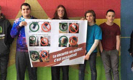 Une affiche afin de prévenir les blessures et les accidents à l'école secondaire du Havre-Jeunesse