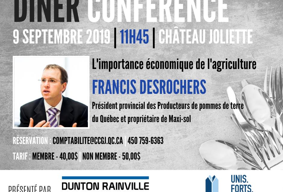 La CCGJ accueille M. Francis Desrochers, Président provincial des producteurs de pommes de terre du Québec