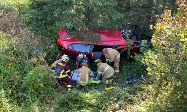 Saint-Félix : un véhicule se retrouve dans un fossé profond