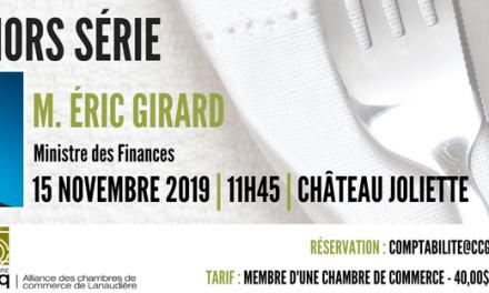 L'Alliance des chambres de commerce de Lanaudière reçoit M. Éric Girard Ministre des Finances du Québec