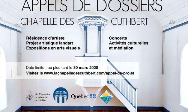 De nombreux appels de dossiers dans le cadre de la programmation 2020 de la chapelle des Cuthbert