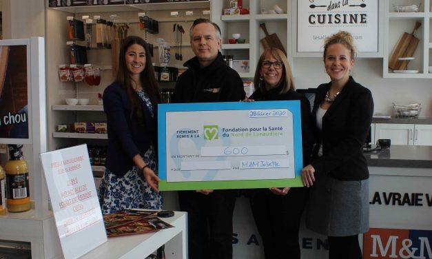 Les Aliments M&M de Joliette remettent 600 $ à la Fondation pour la Santé du Nord de Lanaudière