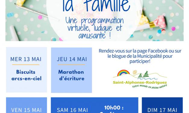 Une fête de la famille virtuelle à Saint-Alphonse-Rodriguez