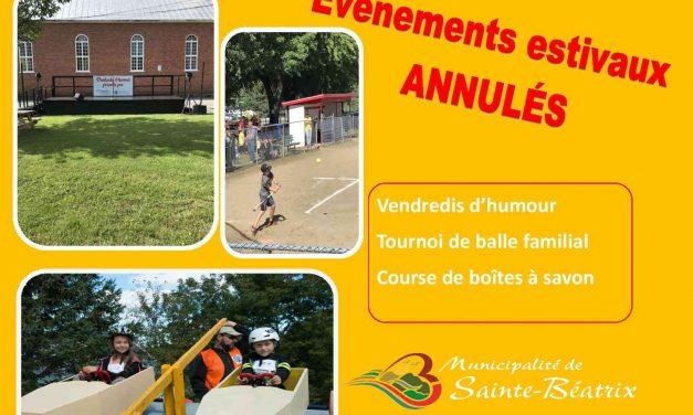 Événements estivaux annulés été 2020 à Sainte-Béatrix