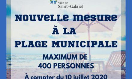 Nombre maximum de personnes autorisées à la Plage de Saint-Gabriel
