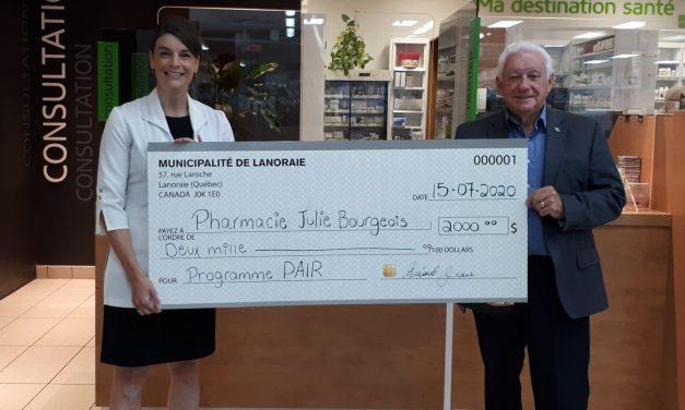 La Municipalité de Lanoraie réitère sa participation financière au Programme PAIR