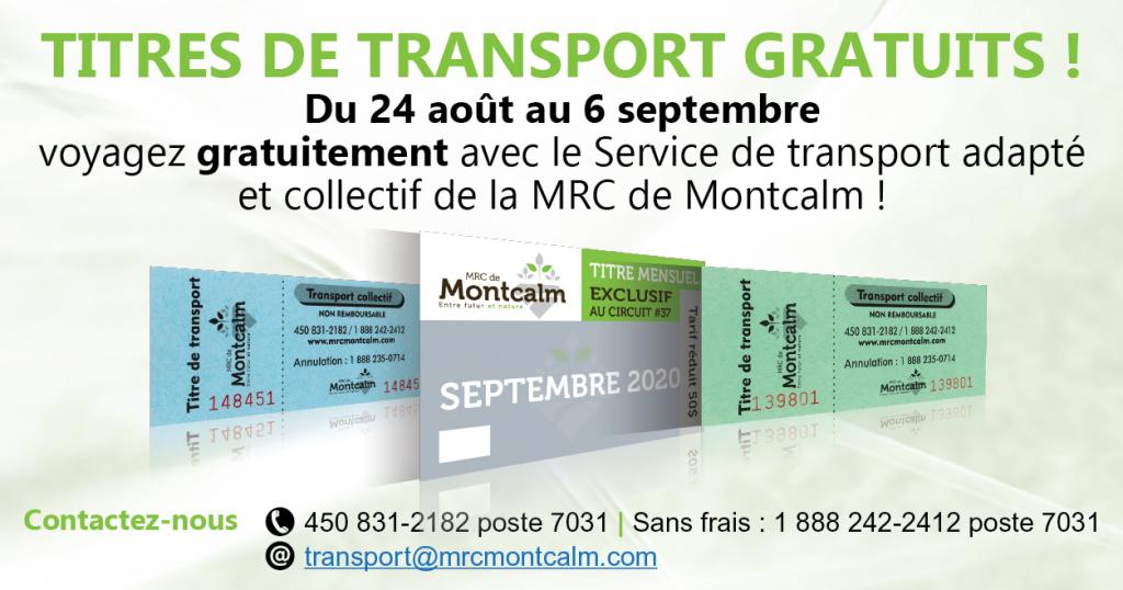 Gratuités pour les services de transports collectifs et adaptés de la MRC Montcalm