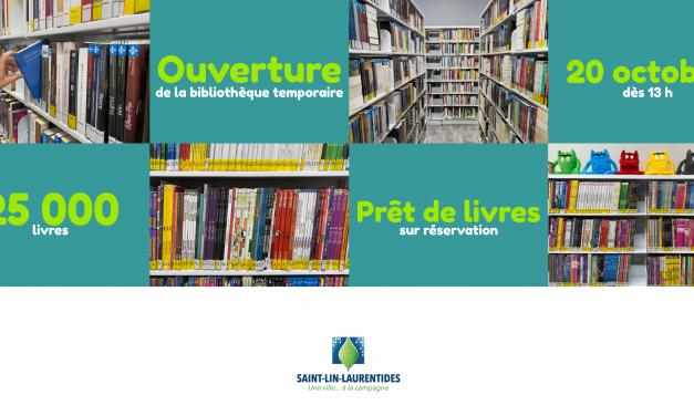 La Ville de Saint-Lin-Laurentides ouvre les portes de sa bibliothèque temporaire
