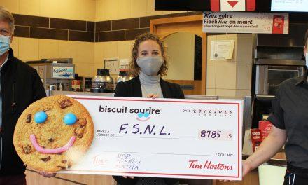 8 785 $ seront versés à la Fondation pour la Santé du Nord de Lanaudière à la suite de la campagne du Biscuit Sourire de Tim Hortons