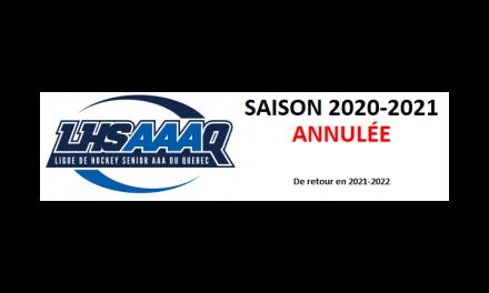 La LHSAAAQ annule sa saison 2020-2021