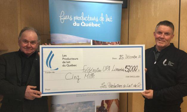 Don de 5 000 $ pour le service de travailleur de rang par les producteurs de lait du Québec