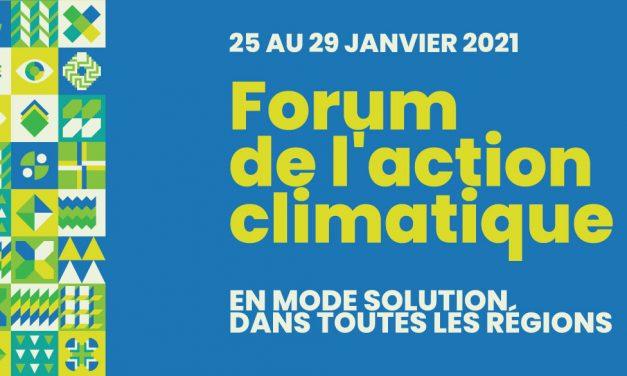 Le Forum national de l'action climatique : Les changements climatiques en mode solution du 25 au 29 janvier