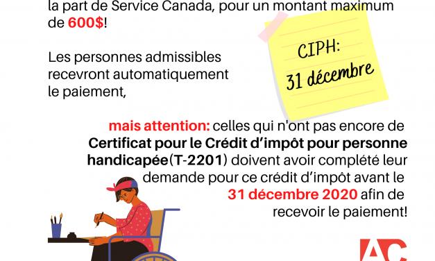 Personnes en situation de handicap : vous pourriez être admissible au paiement unique de 600$