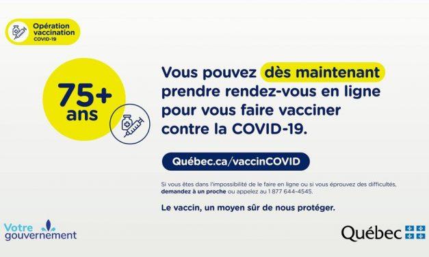 Dès maintenant, la vaccination est offerte aux personnes de 75 ans et plus