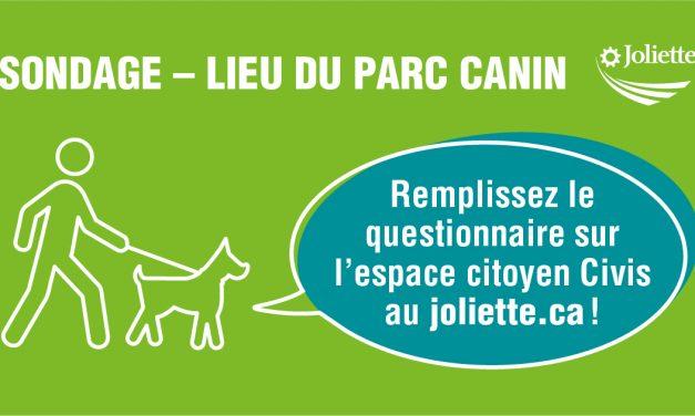 Emplacement d'un parc canin : Joliette sonde ses citoyens!