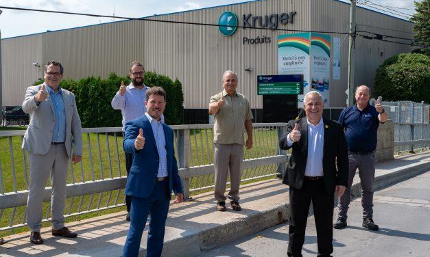 L'usine Kruger de Crabtree bénéficie d'un octroi de 40 000$ du gouvernement fédéral