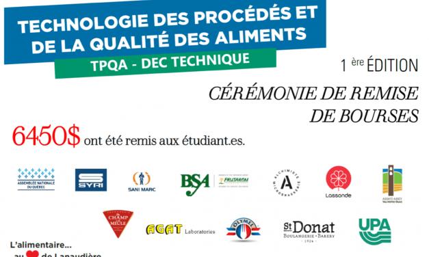 Une première cérémonie de remise de bourses réussie pour le programme Technologie des procédés et de la qualité des aliments du Cégep à Joliette