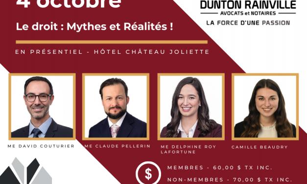 Le Droit : mythes et réalités – un dîner-conférence à ne pas manquer !