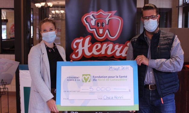 Le Restaurant Chez Henri remet 5 000 $  à la Fondation pour la Santé du Nord de Lanaudière